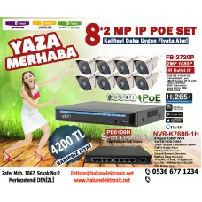 2MP IP POE 8 KAMERALI SİSTEM
